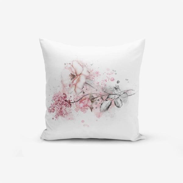 Povlak na polštář s příměsí bavlny Minimalist Cushion Covers Ogea Flower Leaf, 45x45cm