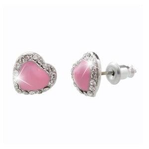 Růžové náušnice se Swarovski Elements Laura Bruni Heart Time Pink
