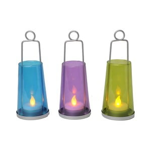 Sada tří bezpečných svíček s lucernami, barevné