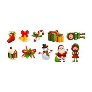 Sada 10 vánočních samolepek Ambiance Santa Claus and Elves