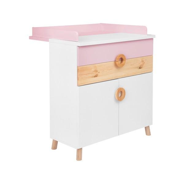 Comodă cu masă pentru schimbat KICOTI Circle, roz - alb