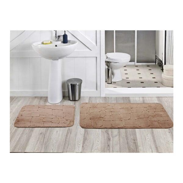 Sada 2 koupelnových koberečků Dekoreko Kahve, 50x60 cm + 60x100 cm