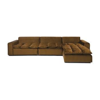 Canapea cu 3 locuri pe colț și șezlong pe partea dreaptă Vivonita Cloud Tobacco Brown maro închis