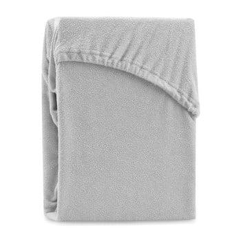 Cearșaf elastic pentru pat dublu AmeliaHome Ruby Silver, 180-200 x 200 cm, gri