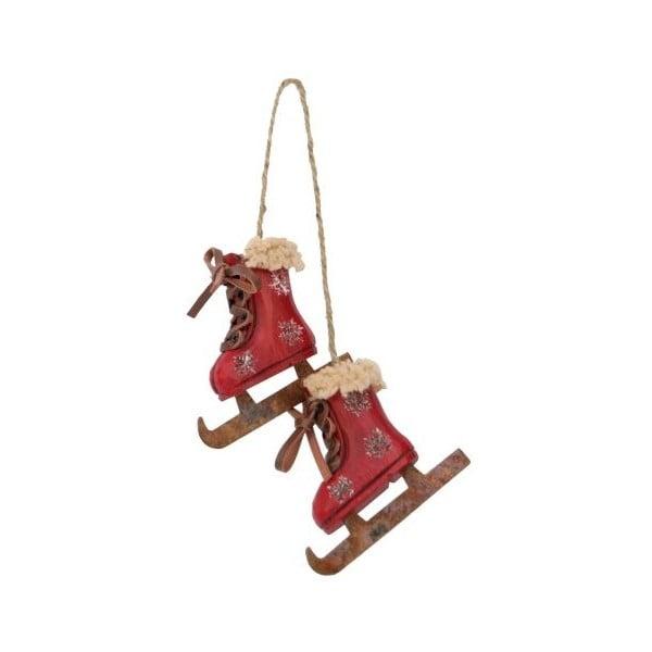 Závesná dekorácia Antic Line Skiing Boots Red