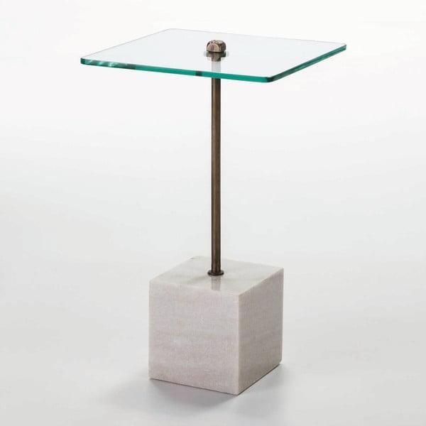 Odkládací stolek ze skla a bílého mramoru Thai Natura Delirium, Ø 40 cm