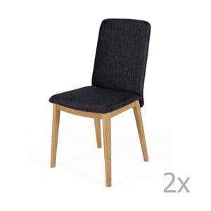 Sada 2 jídelních židlí s podnožím z dubového dřeva Woodman Adra Dark Lighter Half