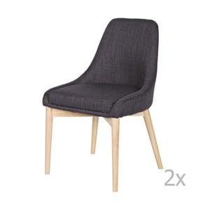Sada 2 tmavě šedých židlí WOOOD Kobe