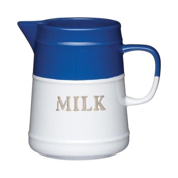 Modrobílá konvice na mléko, 500 ml