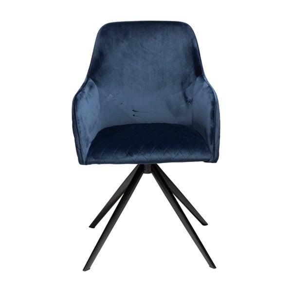 Tmavě modrá jídelní židle s područkami DAN–FORM Denmark Twine Velvet