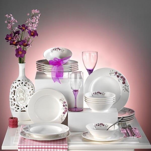 Porcelánový talířový set Luční kvítí, 24 ks