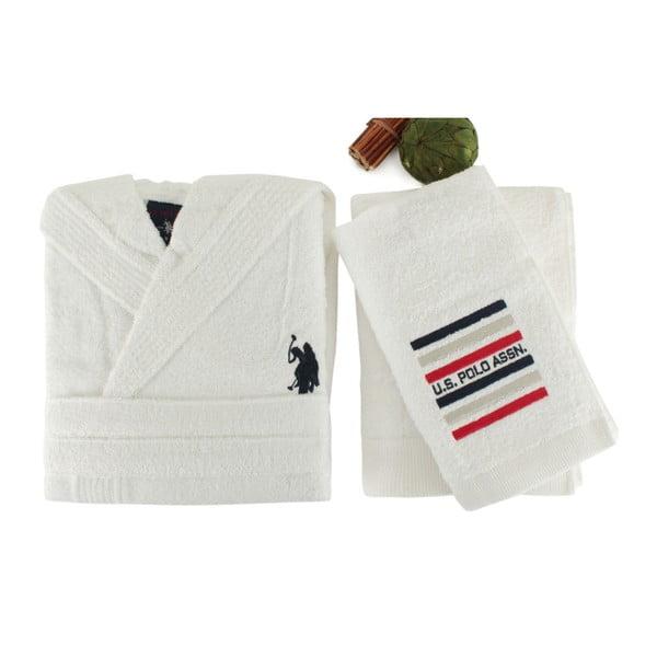 Bílá sada dámského županu a 2 ručníků U.S. Polo Assn. Lutsen, vel. L