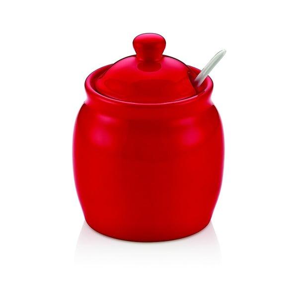 Vivianos piros porcelán cukortartó fedéllel
