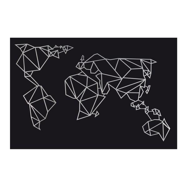 Kovová nástěnná dekorace ve stříbrné barvě World Polygon