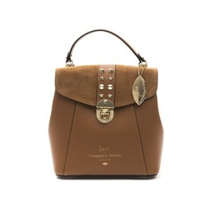 Koňakově hnědý kožený dámský batoh f.e.v. by Francesca E. Versace Rismo
