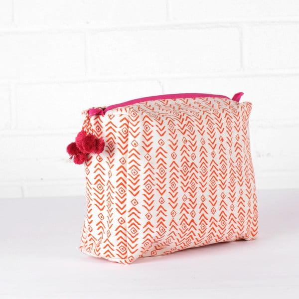Ručně tištěná toaletní taška Aztec Orange