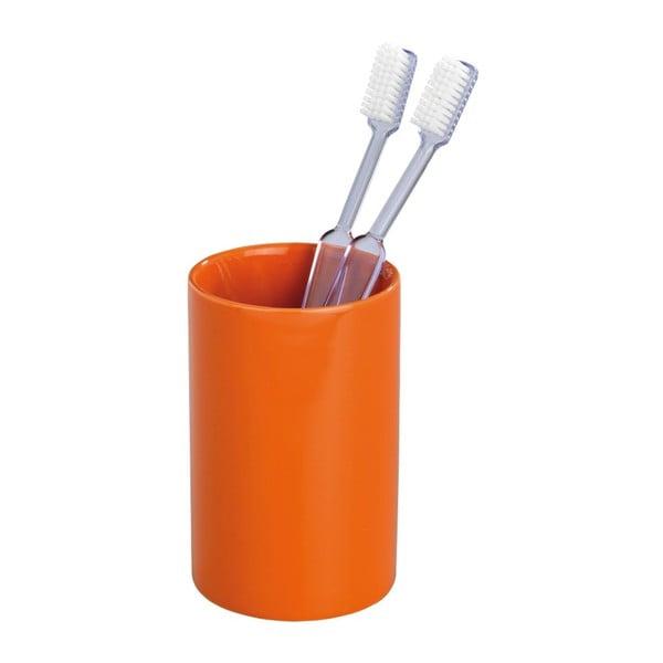 Oranžový kelímek na zubní kartáčky Wenko Polaris Orange