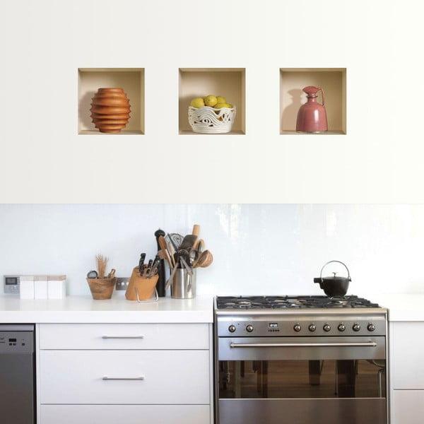 3D samolepky na zeď Nisha Campagnes, 3 ks