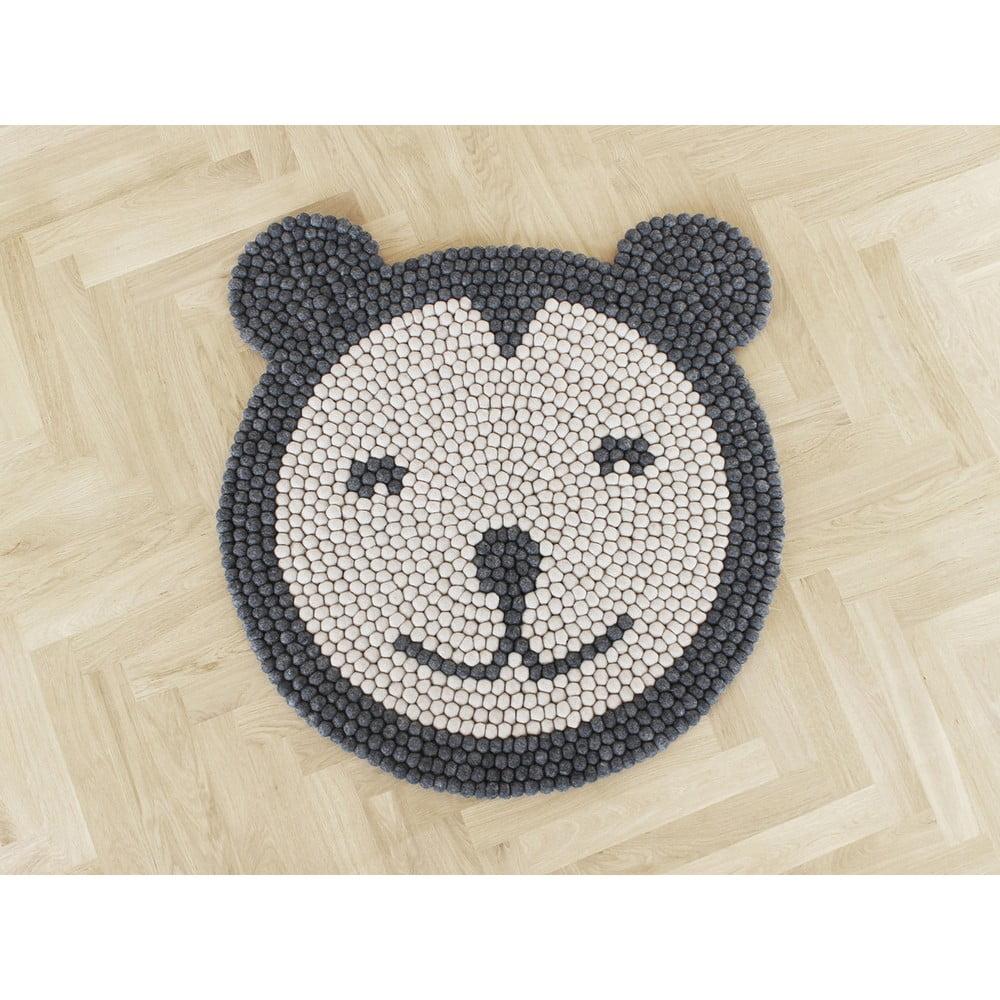 Dětský kuličkový vlněný koberec Wooldot Ball Rugs Bear, ⌀ 90 cm