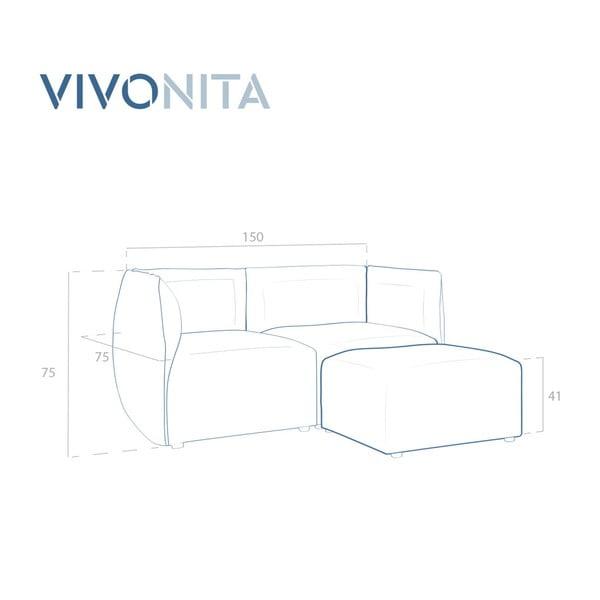 Námořnicky modrá dvoumístná modulová pohovka s podnožkou Vivonita Velvet Cube