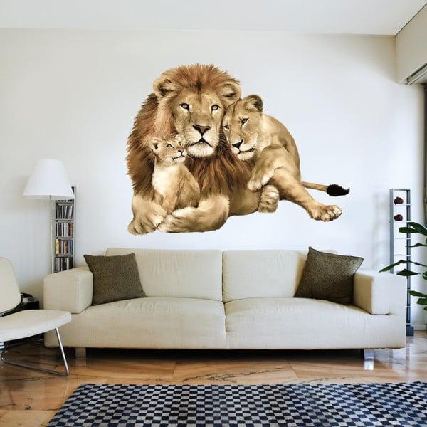 Dekorativní samolepka na zeď Lvi rodina