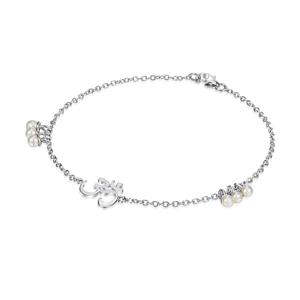 Stříbrný náramek s perlami a přívěskem Chakra Pearls Om, 19 cm