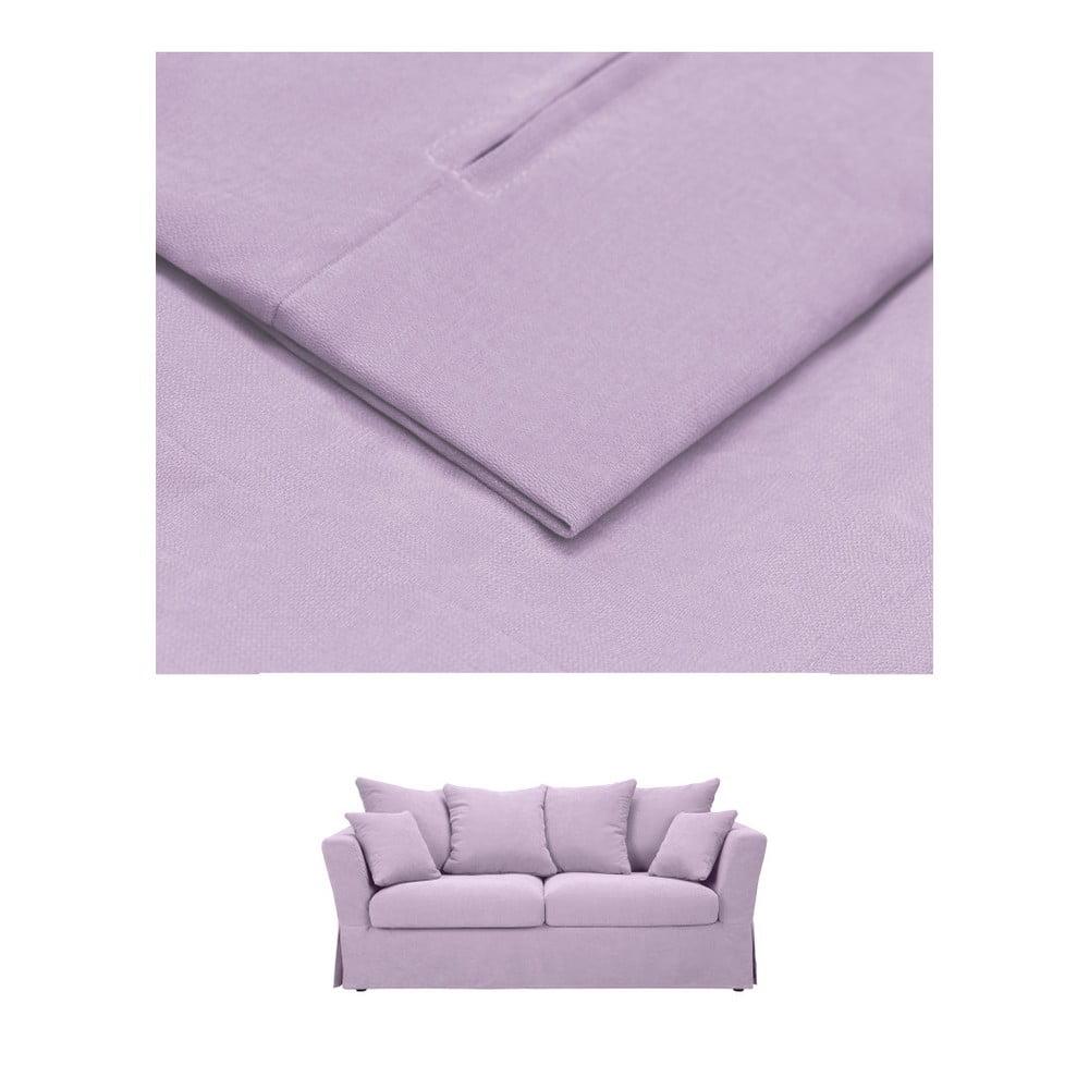 Světle fialový povlak na trojmístnou rozkládací pohovku THE CLASSIC LIVING Helene