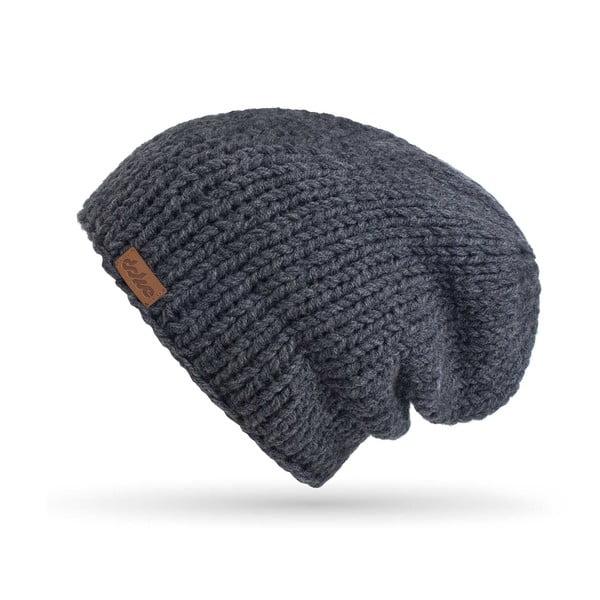 Tmavosivá ručne pletená čiapka DOKE Mina