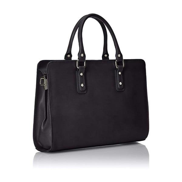 Černá kožená taška Chicca Borse Paola