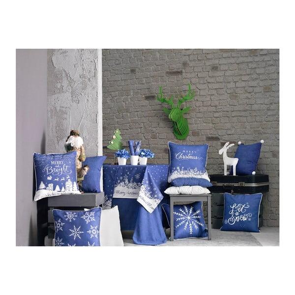 Modrý povlak na polštář s vánočním motivem Apolena Honey Snowflake, 45 x 45 cm