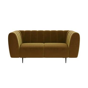 Canapea cu tapițerie din catifea Ghado Shel, 170 cm, galben închis - miere