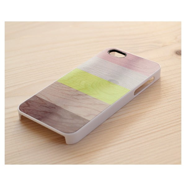 Obal na iPhone 5, Neon, Stripes & Wood/white