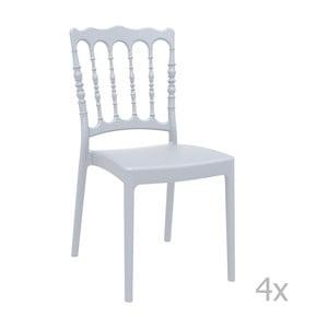 Sada 4 šedých zahradních židlí Resol Napoleon