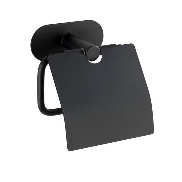 Černý nástěnný držák na toaletní papír Wenko Orea