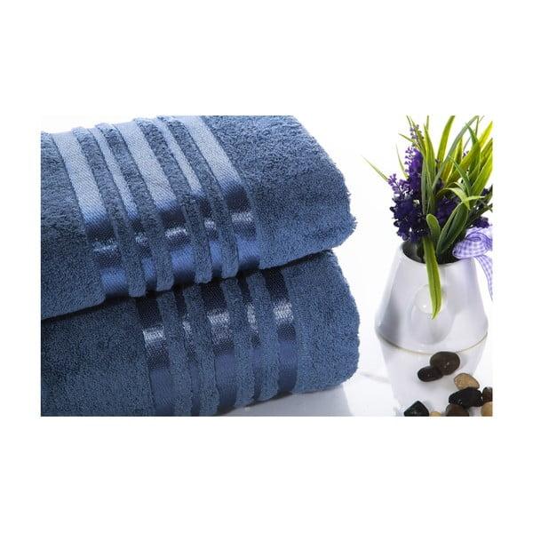 Set modré bavlněné osušky a ručníku Ladik Eleanor