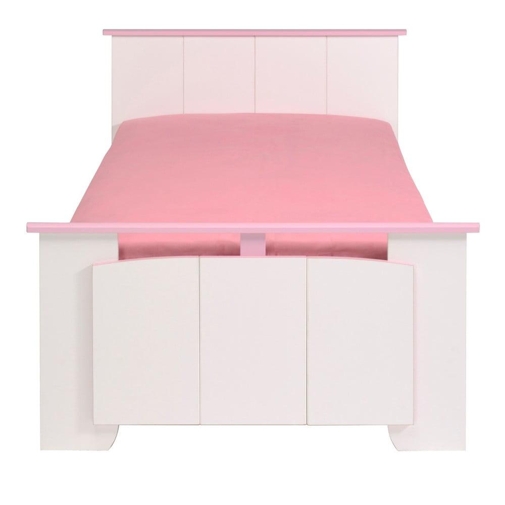 Růžovobílá jednolůžková postel Parisot Amabelle, 90x200cm