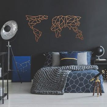 Decorațiune metalică pentru perete Geometric World Map, 150 x 80 cm, arămiu imagine