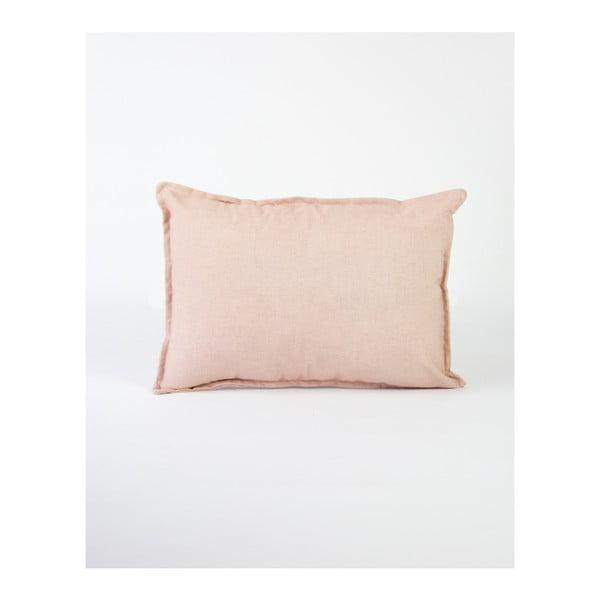Jasnoróżowa poszewka na poduszkę z domieszką lnu Surdic, 50x35 cm