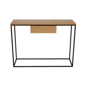 Černý konzolový stolek s deskou z dubového dřeva Take Me HOME Radom, 100x30cm