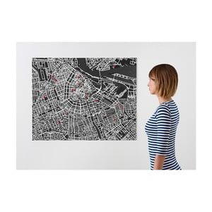 Černá nástěnná mapa Palomar Pin Amsterdam