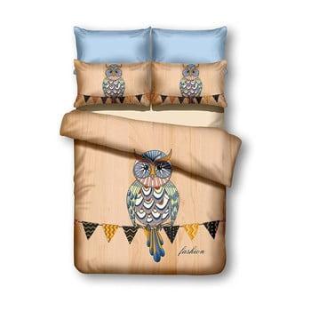 Lenjerie de pat din microfibră DecoKing Owls Autumnstory, 200 x 220 cm de la DecoKing