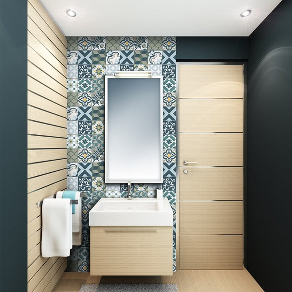 Sada 24 samolepek na stěnu Ambiance Azulejos Rony, 15x15cm