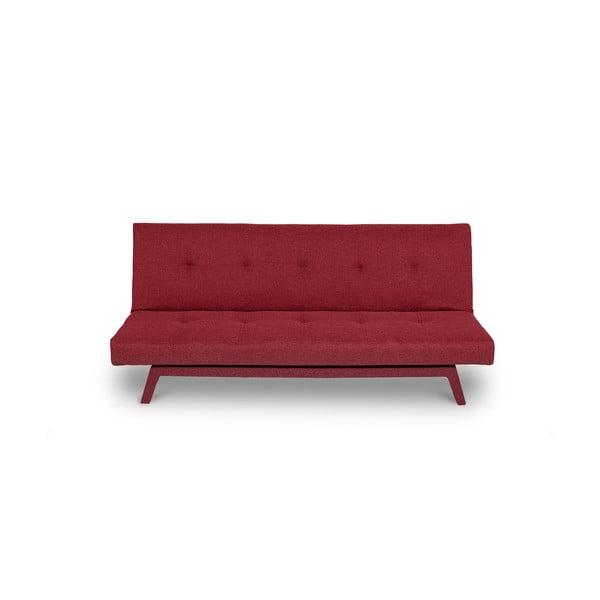 Tmavočervená rozkladacia pohovka s tmavočervenými nohami loomi.design Ozzie