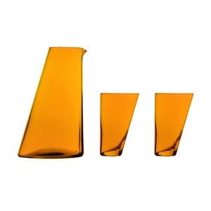 Set oranžové ručně vyrobené karafy a 2 sklenic Surdic Ponza