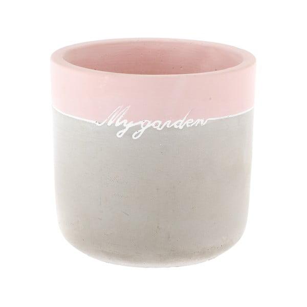 Ghiveci din beton Dakls My Garden, înălțime 11,5 cm, gri-roz
