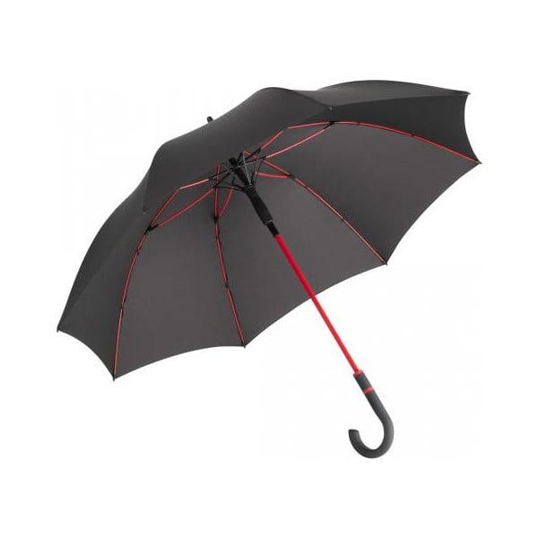 Fare Proof fekete szélálló esernyő piros részletekkel, ⌀ 112 cm - Ambiance