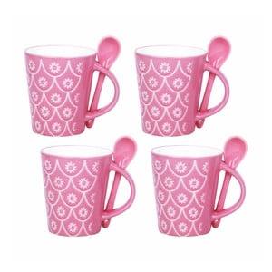 Sada 4 šálků s lžičkami Mugs, růžová