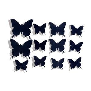 Sada 12 černých nástěnných samolepek LineArtistica Farfalle Nere