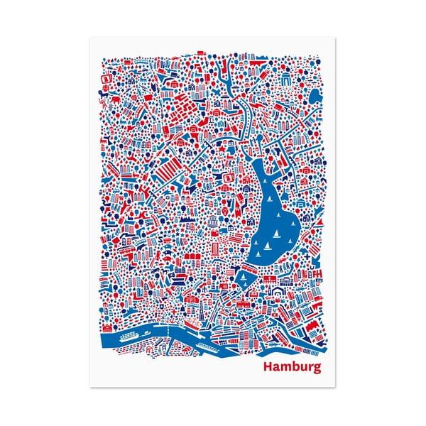 Nástěnná mapa Hamburg, 70x50 cm