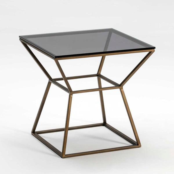 Odkládací stolek z kouřového skla a kovu bronzové barvy Thai Natura, 55 x 55 cm